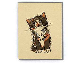 Calico Kitten Cat Stationery Note Greeting Card