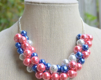 Coral, Blue and White Pearl Cluster Necklace