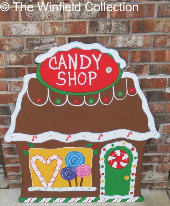 Christmas Carolers Wood Outdoor Yard Art By Chartinisyardart: Christmas Gingerbread Candy Shop Wood Outdoor Yard Art Lawn