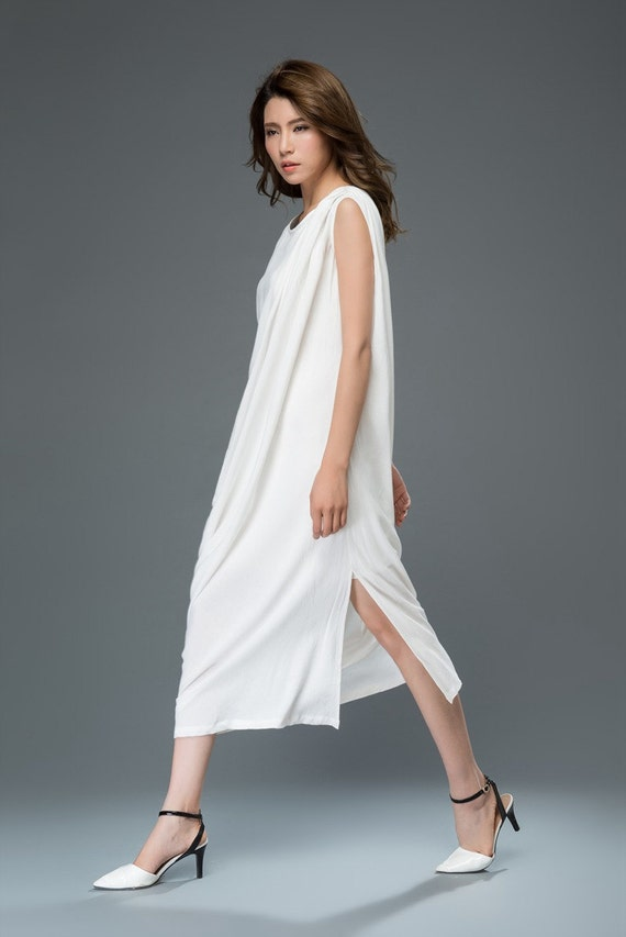 White linen dress maxi dress women's dress  C909