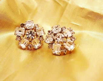 Exquisite RUNWAY Bold Vintage Designer Couture RHINESTONE Earrings E3