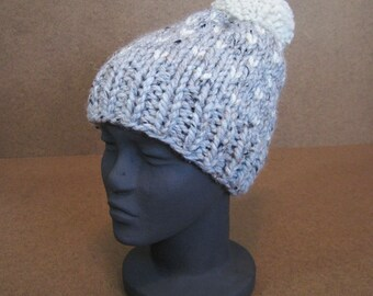 Chunky Knit Child Hat, Gray Pattern Knit Hat - Grey Marble/Wheat