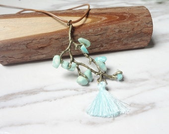 Small  Pure Fresh Amazonite Tassel Branches Necklace Natural Stone  Energy  0220
