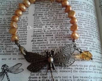 Dragonfly Bracelet, Pearl Bracelet, Golden Pearl Dragonfly Bracelet, Dragonfly Jewelry, Pearl Jewelry