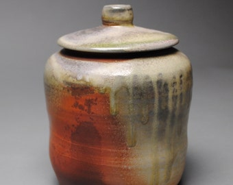 Clay Covered Jar Wood Fired Ginger Jar C60