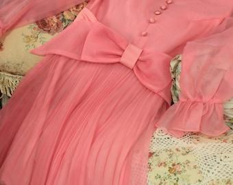 Marcia Dress, Brady Bunch, Size Small, Pink Hippie Dress, 70's Teen Wear, Petite Dress, Mini Dress