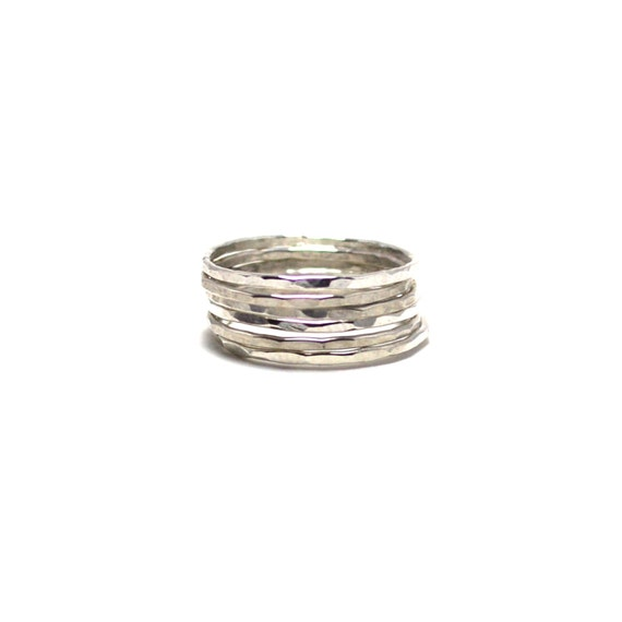 6 Skinny Silver Stacking Rings - Hammered or Smooth