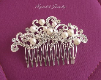 SALE -15% OFF Bridal hair comb, Rhinestone & Pearl Wedding hair piece, Bridal hair accessories, Wedding hair comb, Crystal pearl hair comb