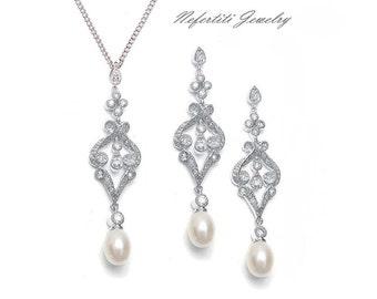 SALE wedding jewelry set vintage bridal jewelry cubic zirconia pearl wedding jewelry pearl drop bridal necklace earrings bridesmaid jewelry