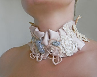 Satin fabric choker High neck ruff collar with raw crystal gemstone Crochet collar Satin and Lace choker with stones Neck corset Neck collar