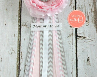 Pink Grey Chevron Baby Shower Corsage with Mommy to Be Future Mom and Custom Pins Badge