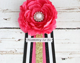 Kate Spade Baby Shower Corsage Mommy to Be Grandma to Be Corsage Pin Badge Kate Spade Inspired Baby Shower Bridal  Glitter Gold