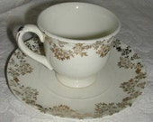 Crooksville Child Size Teacup and Saucer Vintage 1950s