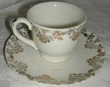 Crooksville Child Size Teacup and Saucer Vintage 1950s