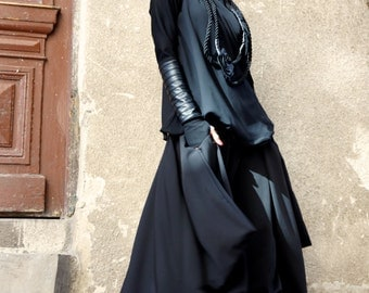 New Loose  Wide Black Skirt - Pants / Wide Leg Pants Spring / Summer  Collection  by Aakasha A05383