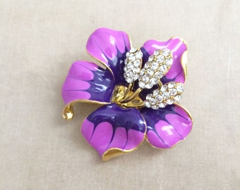 beach wedding brooch, flower brooch, beach wedding, purple brooch, bridal,pin, orchid hibiscus flower destination wedding GOLD PURPLE INDIGO