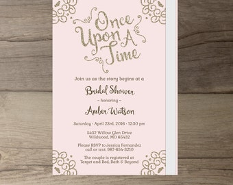 Once Upon a Time Bridal Shower Invitations • pink blush and gold glitter • Book Theme • DIY Printable