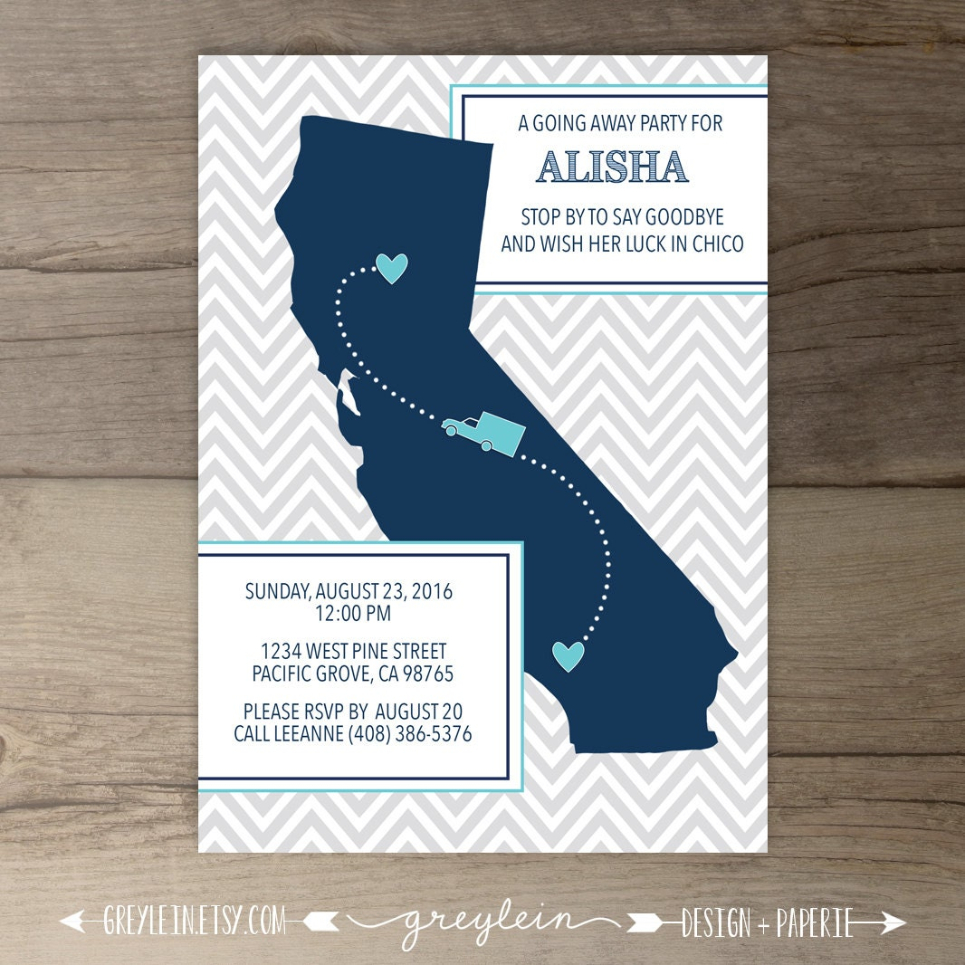 going away party invitations    invites    single state    moving
