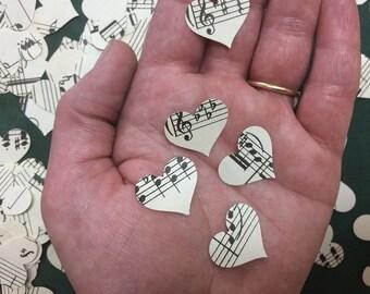 500 Heart Confetti, Music Note Confetti, Music theme Party, Hearts, Music Decor, Sheet Music Heart, Sheet Music Confetti