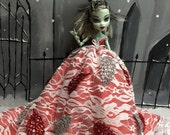 MARK DOWN!!! Red and White Christmas Leaf Fairy Gown for your Monster High Girl Doll