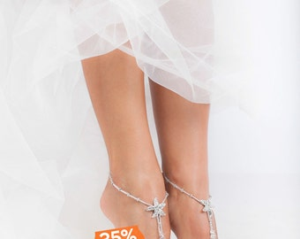 Rhinestone Starfish Silver Beaded barefoot sandals Bridal foot jewelry Beach wedding Barefoot Sandals Bridal shoes Footless sandals Thongs