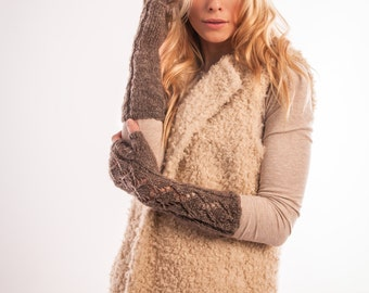 Womens fingerless gloves Knit arm warmers, Knitted mittens Winter Women's Mitten, Long Fingerless gloves, Wrist Warmers Open work Glove