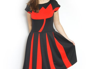 """Sommer dress """"Flower"""" in black and red, with floral color blocking detail, cap sleeves, pleated two-tone skirt, jersey dress, party dress"""