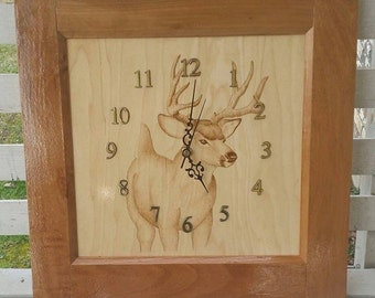 Wood burned deer clock, pyrography