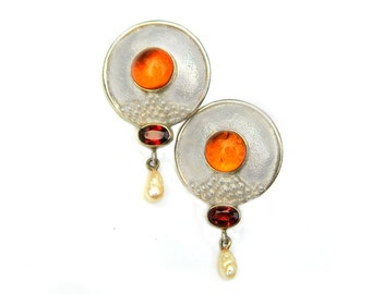 Amber Garnet Sterling Silver Earrings Vintage Pearl Drop Dangle Domed Disc Gem Earrings For Women January Birthstone Modern Mediterranean
