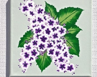 Floral Painting Purple Lilacs On Green Canvas, Wall Hanging, Home Decor, Housewarming Gift, Wedding Shower Gift, Art