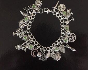 Wicca Charm Bracelet, Wiccan, Pagan, Magic, Moon Worship, Pentacle, Jewelry, Jewellery, Gift