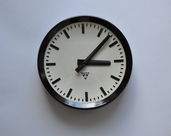"12.5"" diameter Vintage Industrial Wall Clock from PRAGOTRON.  1960s. Black Rim. Czechoslovakia. Czech. 1176"