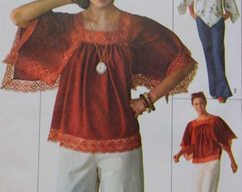 Pullover Top Sewing Pattern Simplicity 7569 1970s Bust 38-40