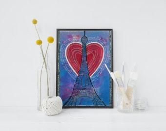 """Blue Paris Art Print, Paris Decor- Eiffel Tower French Bedroom Decor - 5x7"""" Paris Nursery Art - Kitchen Home Decor"""
