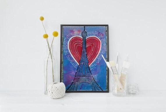 Blue Paris Art Print Paris Decor Eiffel Tower French Bedroom Decor
