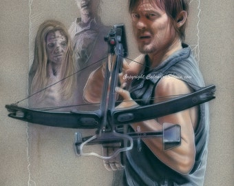 Daryl with Walkers Signed 11x14 Print