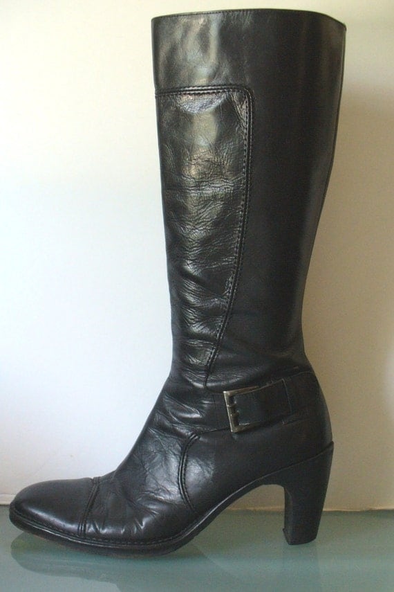 Made in Italy Kenneth Cole Black Heavy Leather Boots Size 39EU
