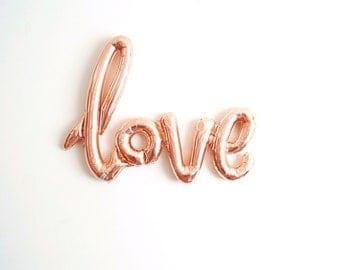 FREE SHIPPING rose gold LOVE air fill jumbo mylar balloon wedding engagement bridal shower calligraphy script - Air Fill balloon