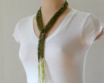 Olive Green Waterfall Scarf, Olive Green Tassel Scarf, Green Tassel Necklace, Green Summer Scarf, Olive Green Lariat Necklace, Lacy Scarf