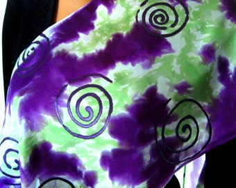 Purple, Lime Green & White Silk Scarf. Hand Dyed Spiral Silk Scarf. Habotai Silk, Purple Light Green White.  11x60 inch Scarf Hand Painted.