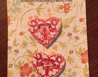 Handmade Red Lace Heart Ceramic Buttons ( Set Of 2 )
