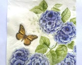 Paper Napkins for Decoupage BLUE FLOWERS and BUTTERFLY Paper Napkins for crafts 5pcs Five Luncheon size Floral Napkins