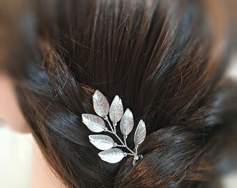 Floral headpiece for bride, wedding hair pin silver, floral bridal hair pin, flower headpiece, floral hair piece, floral hair accessory