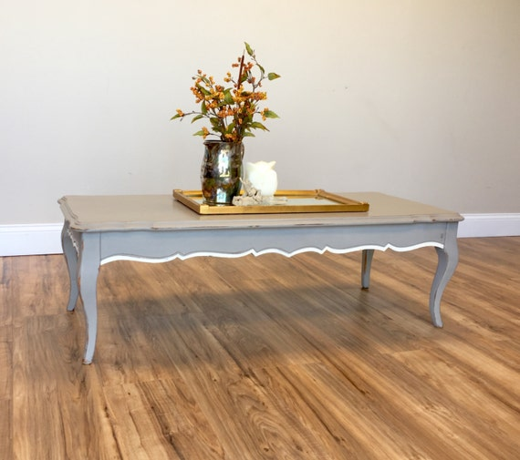 French Country Distressed Coffee Table: Small Coffee Table French Provincial Shabby Coffee Table