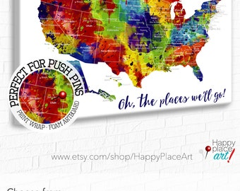 Large USA Map Heart Map Bright Watercolor Style Custom - Usa map with cities and states