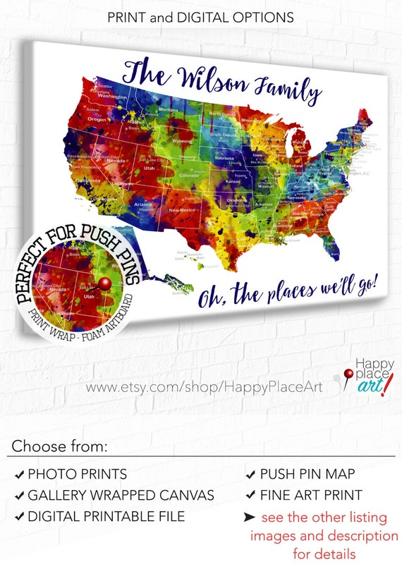 Large And Bright Family Travel Map USA Map With States And - Us map with states and major cities