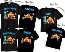 1st Birthday Shirts with Circus Family Birthday Shirts with Circus on BLACK Shirts