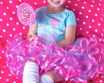 Purple and pink polka dot. Satin ribbon trimmed Petti tutu.