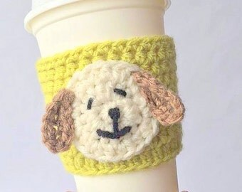 Coffee Cozy, Crochet Coffee Cozy, puppy cozy, Mug Cozy, Cozy, Mug, Cup Cozy, Coffee, Pupoy cup cozy, Coffee Cozy Sleeve, crochet Coffee cozy