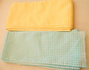 "6"" Wide Gingham Fabric Trim Finished Edges by the Yd - Sunny Yellow or Pastel Aqua for Ruffles, Pleats, or Insertion Sewing Supplies"